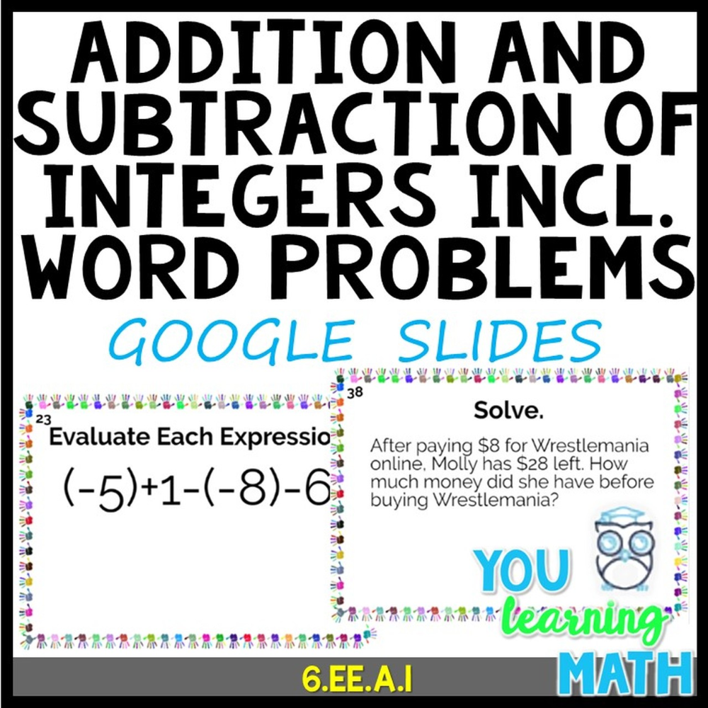 Adding and Subtracting Integers including Word Problems: GOOGLE Slides - 40  Problems   Adding and subtracting integers [ 1000 x 1000 Pixel ]