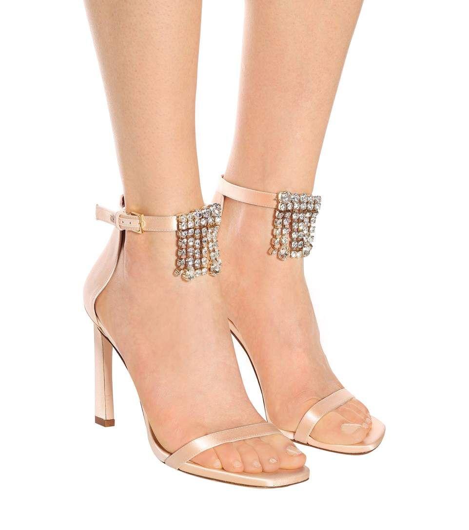 Fringe Square Nudist 100 satin sandals Stuart Weitzman LlKvE