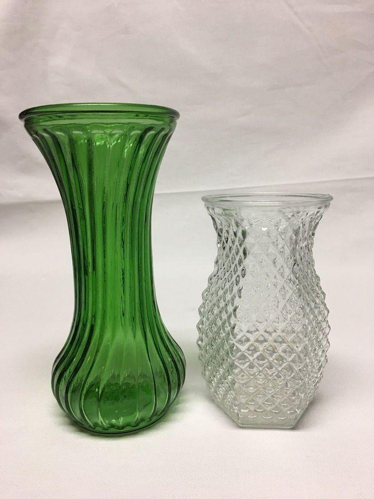 2 Vintage Hoosier Glass Vases 1 Swirl Green And 1 Clear Diamond