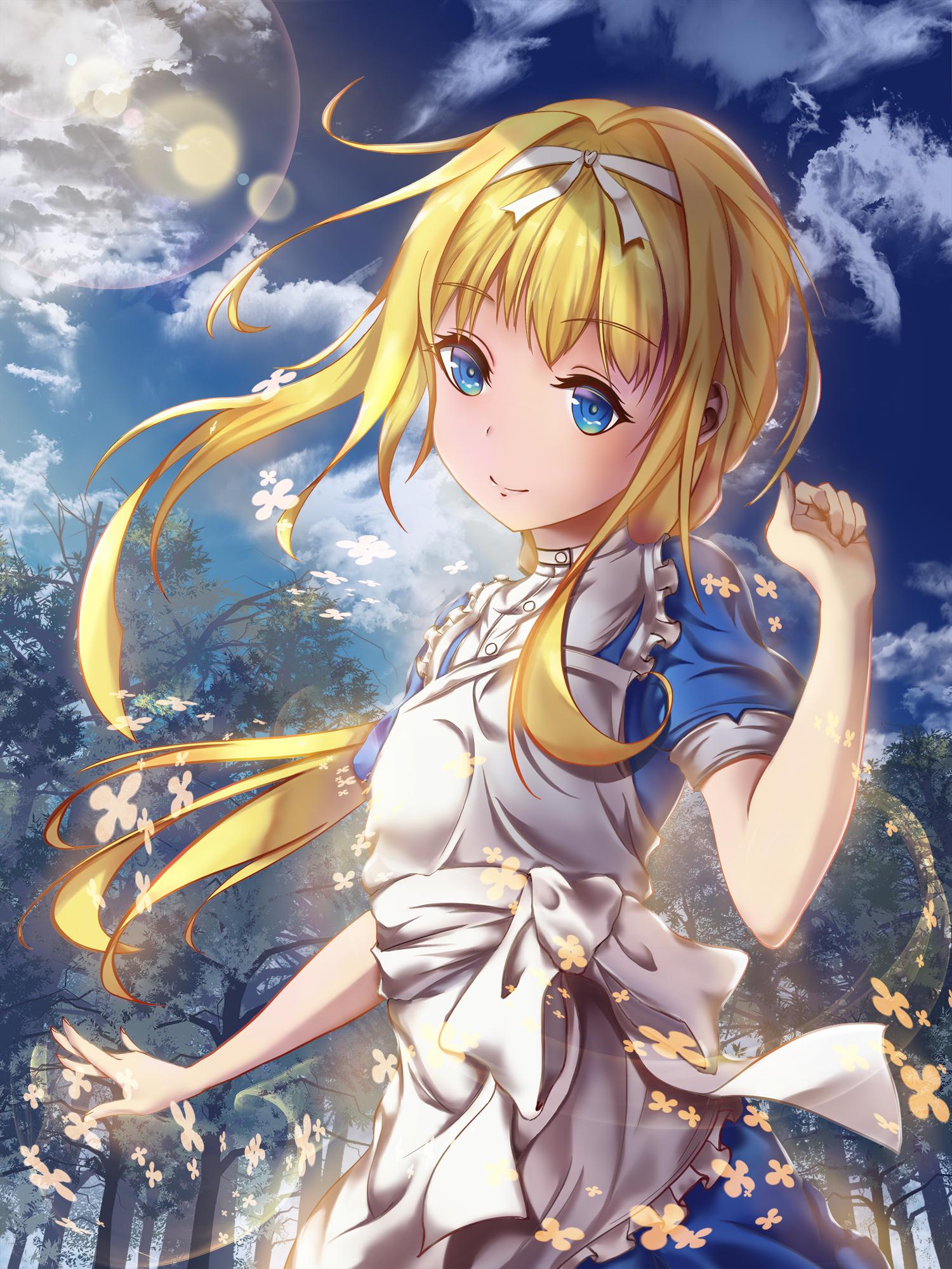 1girl alice_schuberg apron aura bangs blonde_hair blue