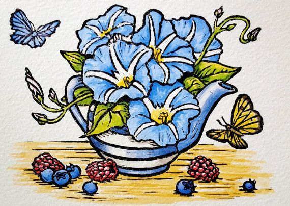Block Print Hand Colored Painting Morning By FireflyFieldPrints