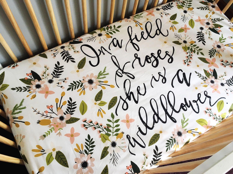 Wildflower floral crib sheet, floral nursery, gold nursery girl, modern baby bedding, purple floral, crib bedding by DwellDarling on Etsy