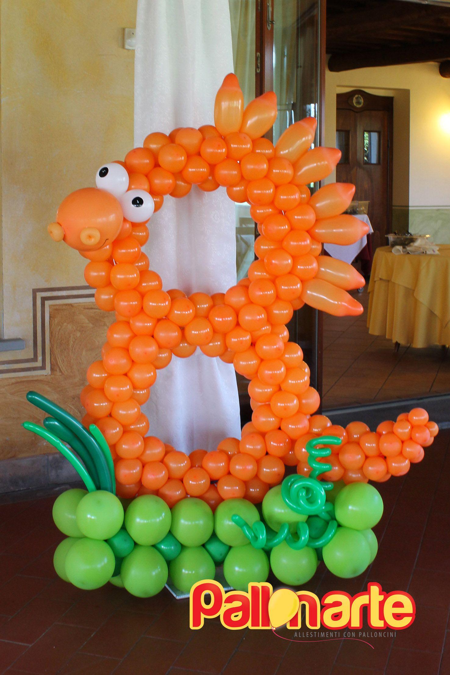 numero con palloncini tema dinosauro compleanno numero con