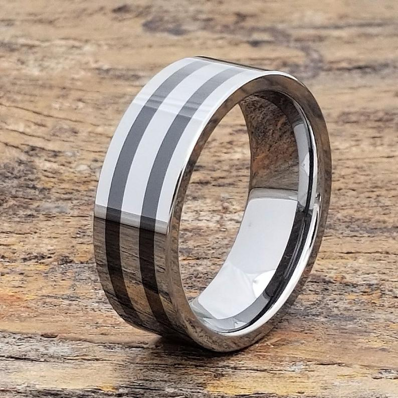 Mens Tungsten Ring Unique Wedding Band Tungsten Rings