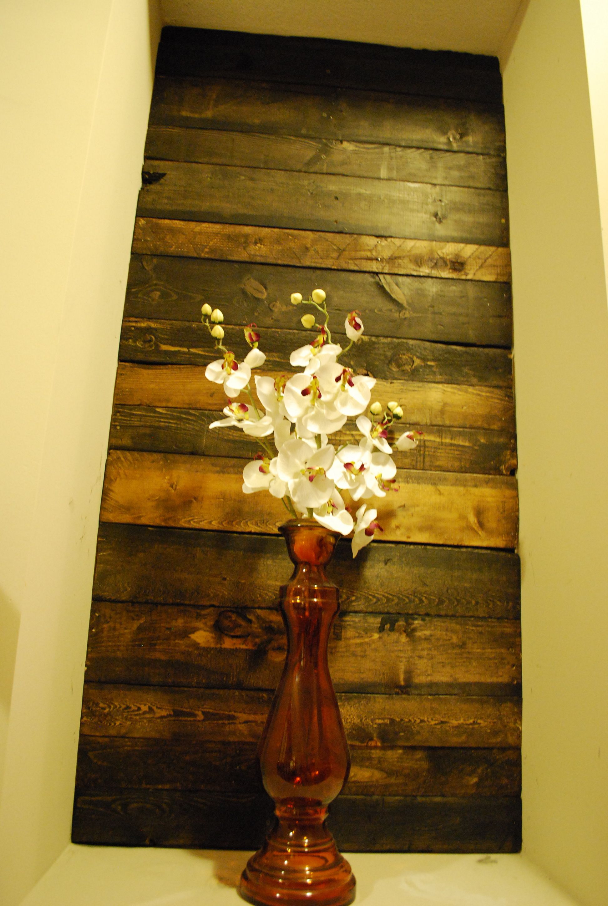 Before & After of a wood pallet wall inset. | Reclaimed Wood or Wood ...