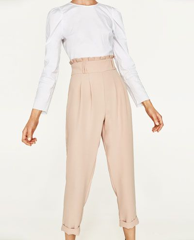 Imagen 2 De Pantalon Tiro Alto De Zara Pantalon Tiro Alto Pantalones Pantalones Mujer