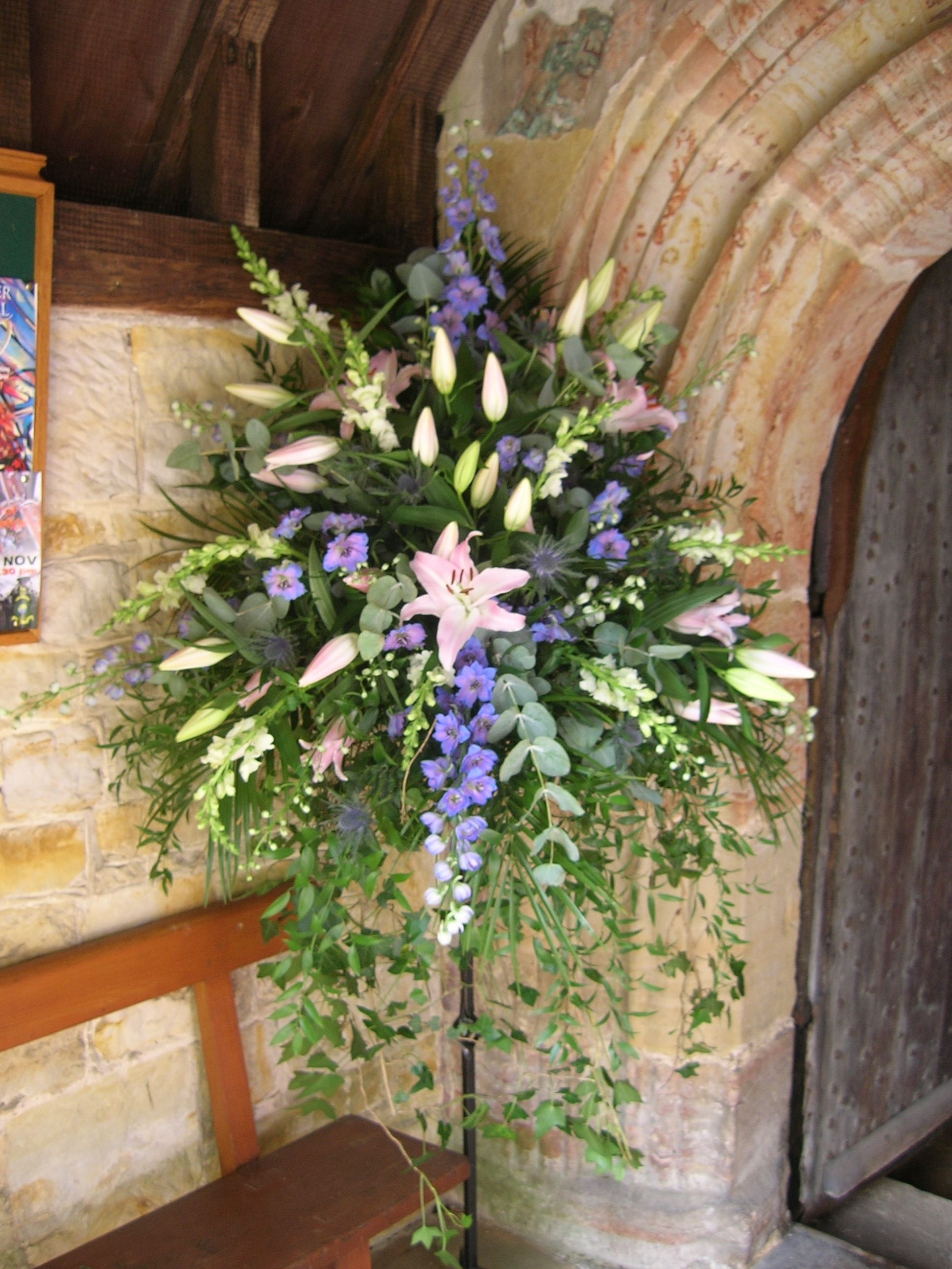 Pedestal With Soft Trailing Foliage Large Flower Arrangements Church Flowers Flower Arrangements
