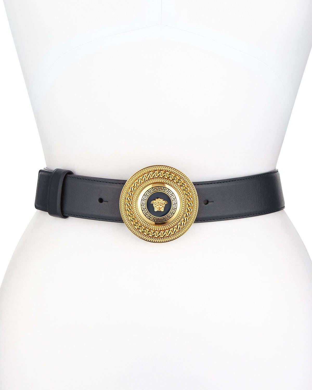 Enamel-Buckle Leather Belt, Navy
