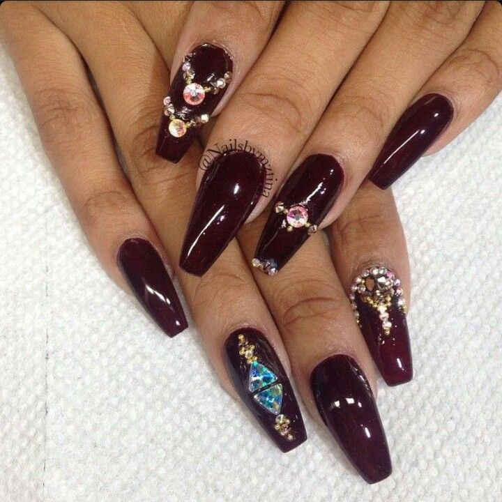 Dark Red Wine Red Squoval Acrylic Nails w/ Rhinestones ...
