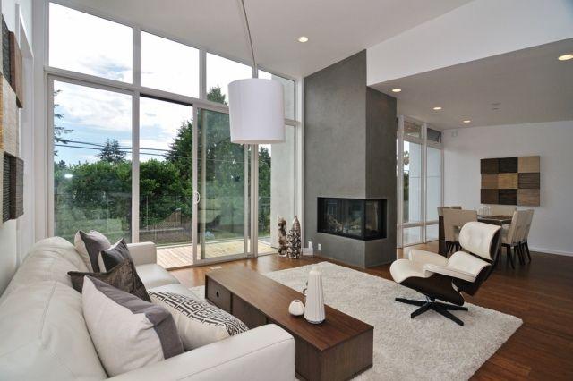 Moderne Gestaltungstipps Für Wohnzimmer Eingebauter Kamin Gemauert Und  Verputzt