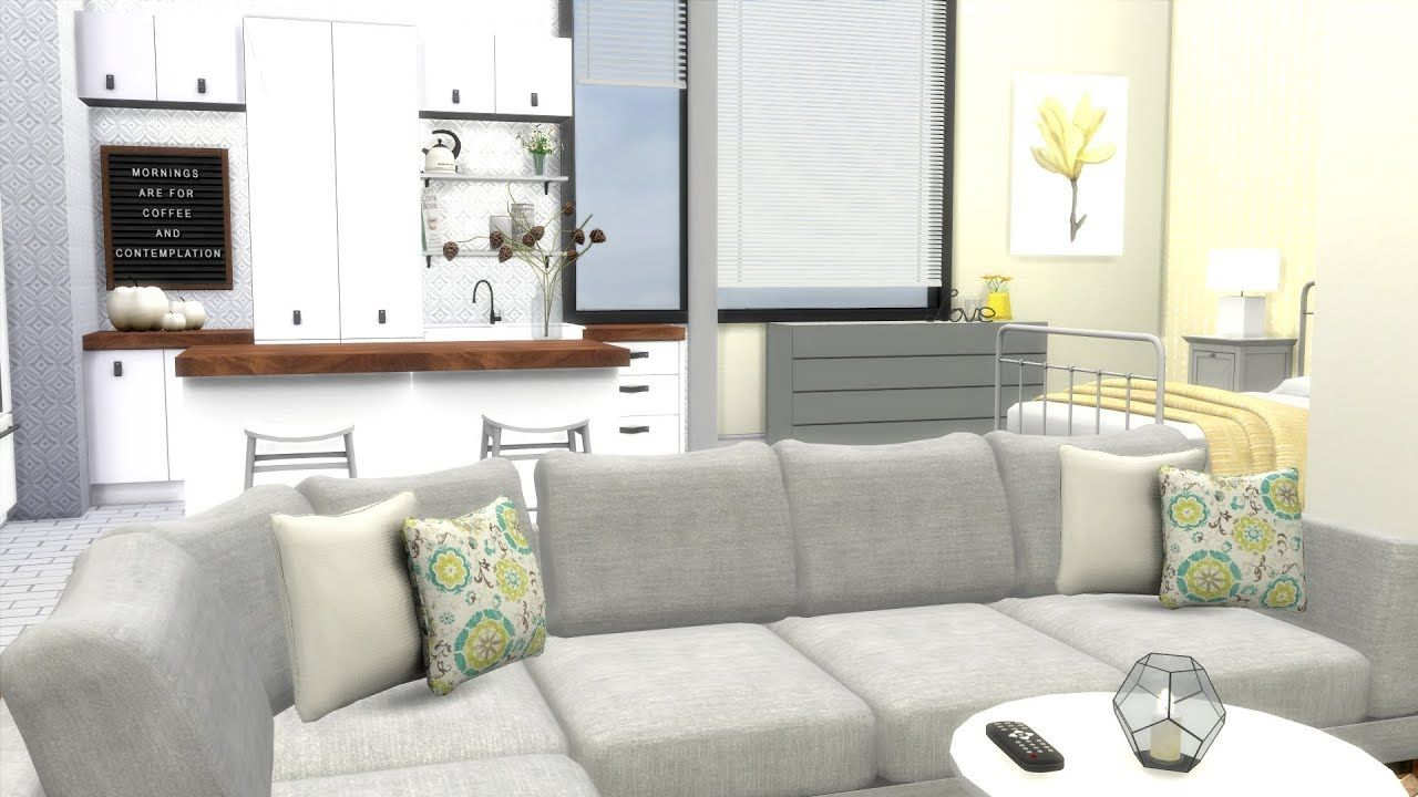 The Sims 4 Speed Build Minimalist Apartment Cc Links With Images Apartment Couch Minimalist Apartment