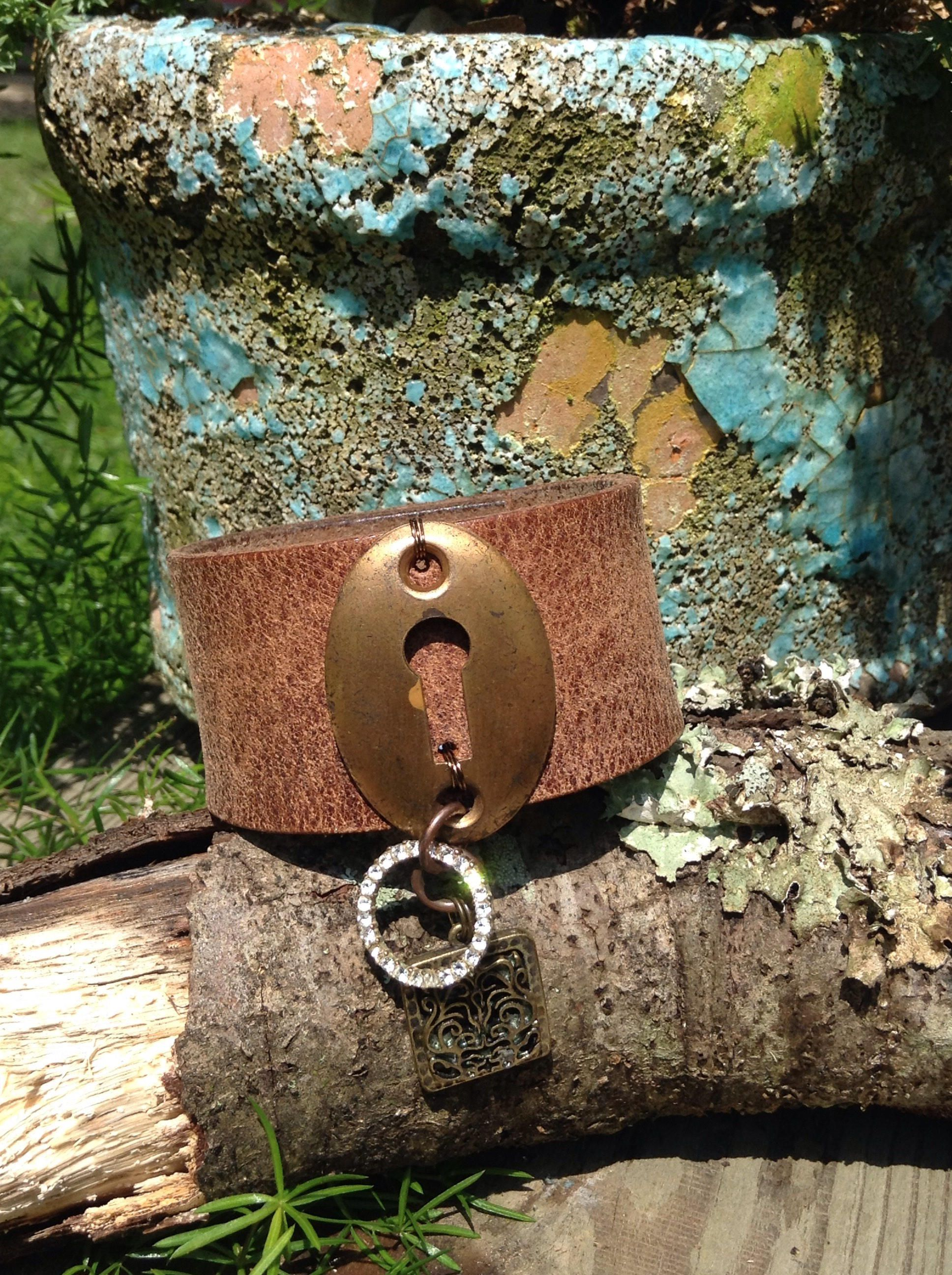 Keyhole and Vintage Jeweled Leather Cuff Bracelet for Women, Jeweled Leather Cuff, Leather Cuff for Women, Free Shipping by TheVintageVibeFinds on Etsy