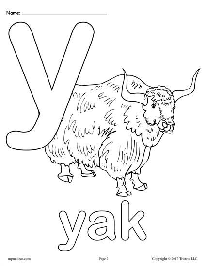Letter Y Alphabet Coloring Pages 3 FREE Printable Versions