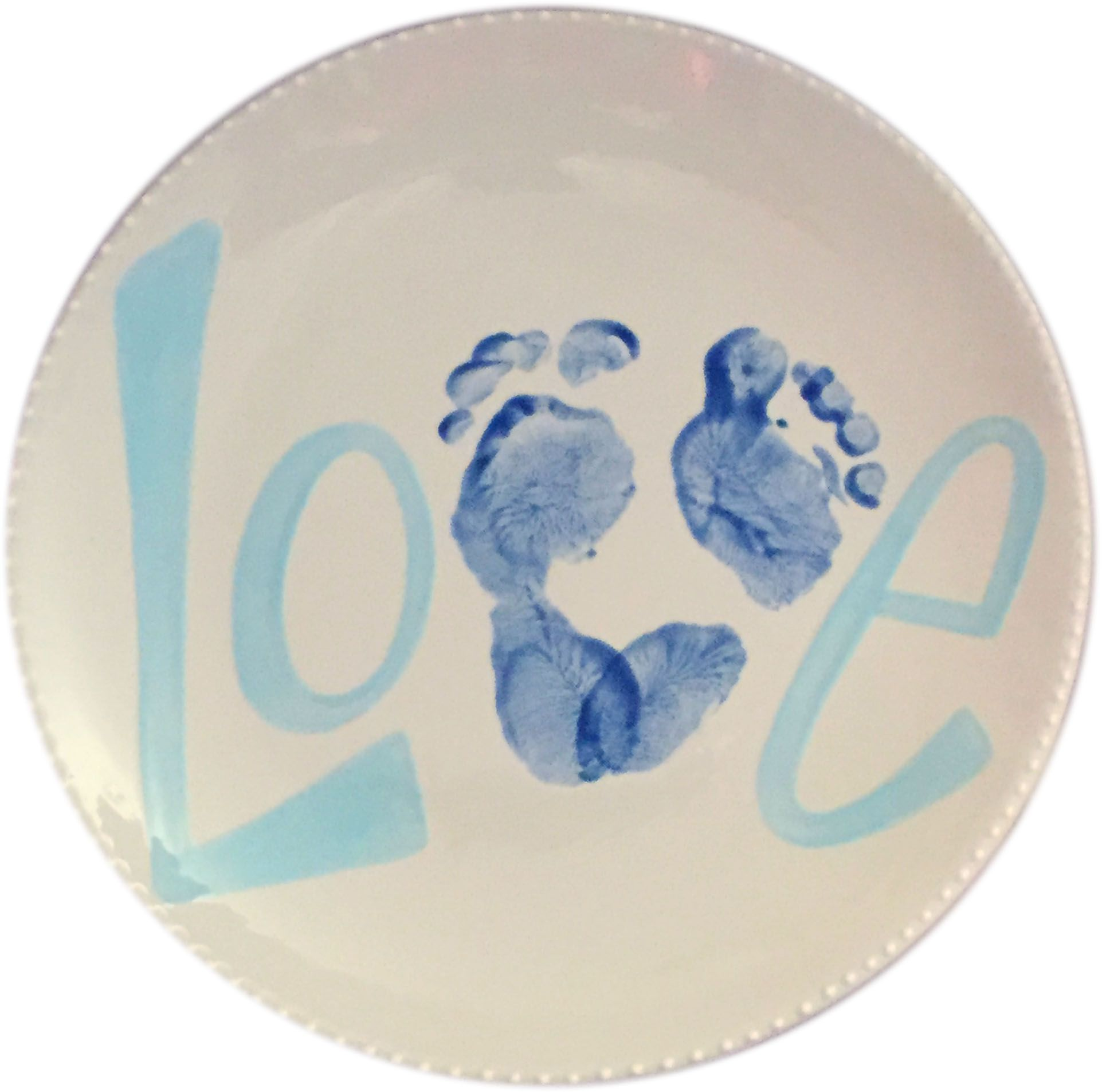 Love round footprint plate brush strokes pottery for Handprint ceramic plate ideas