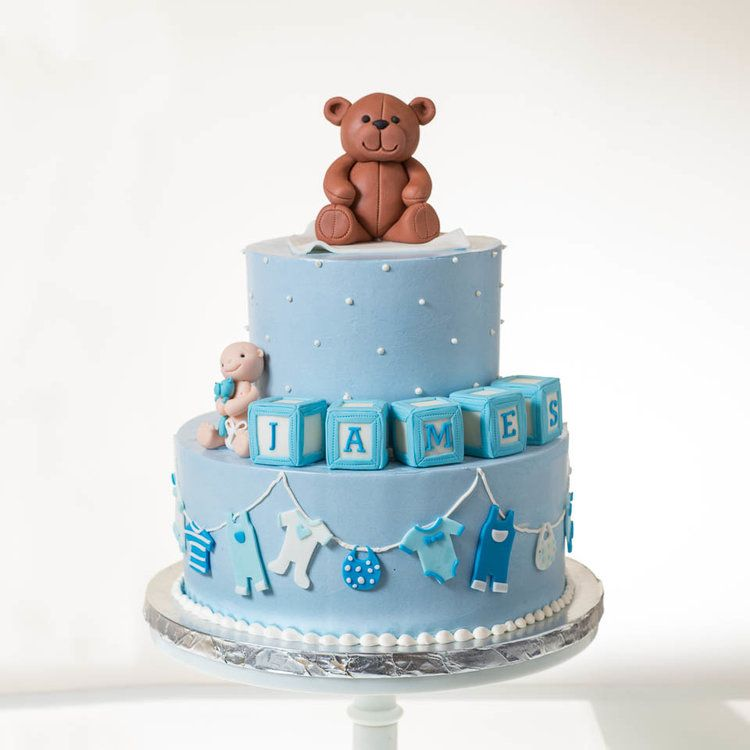 3bafa0bba Baby Shower Cake with baby block and teddy bear and clothes line ...