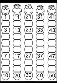 Missing Numbers 1-50 – 4 Worksheets | kids education | Pinterest ...