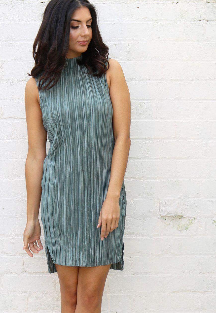 8aba33b7e0e Lola May Funnel Neck Plissé Midi Dress in Khaki Green - One Nation Clothing  - Lola May - 1