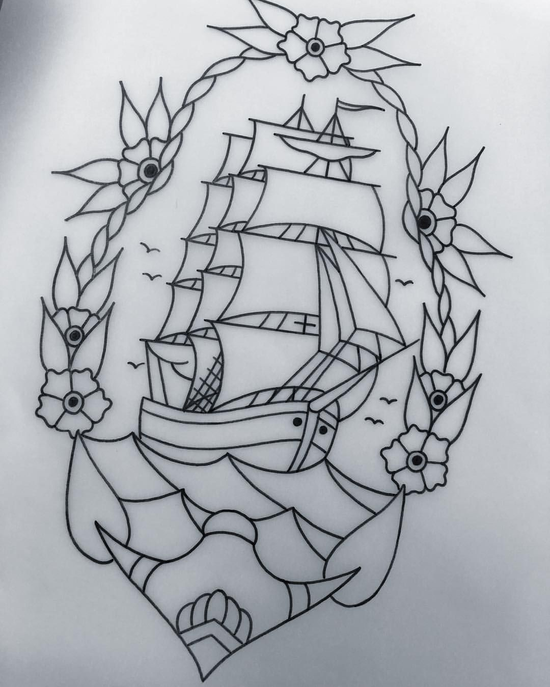 Tattoo Drawing Outline : American traditional tattoos photo old school tattoo