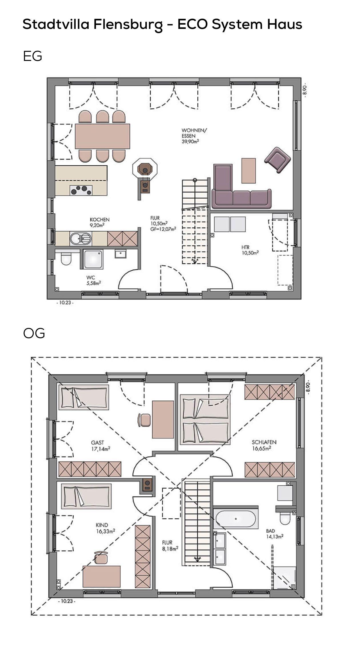Stadtvilla Grundriss modern mit Kamin & Zeltdach Architektur - 4 ...