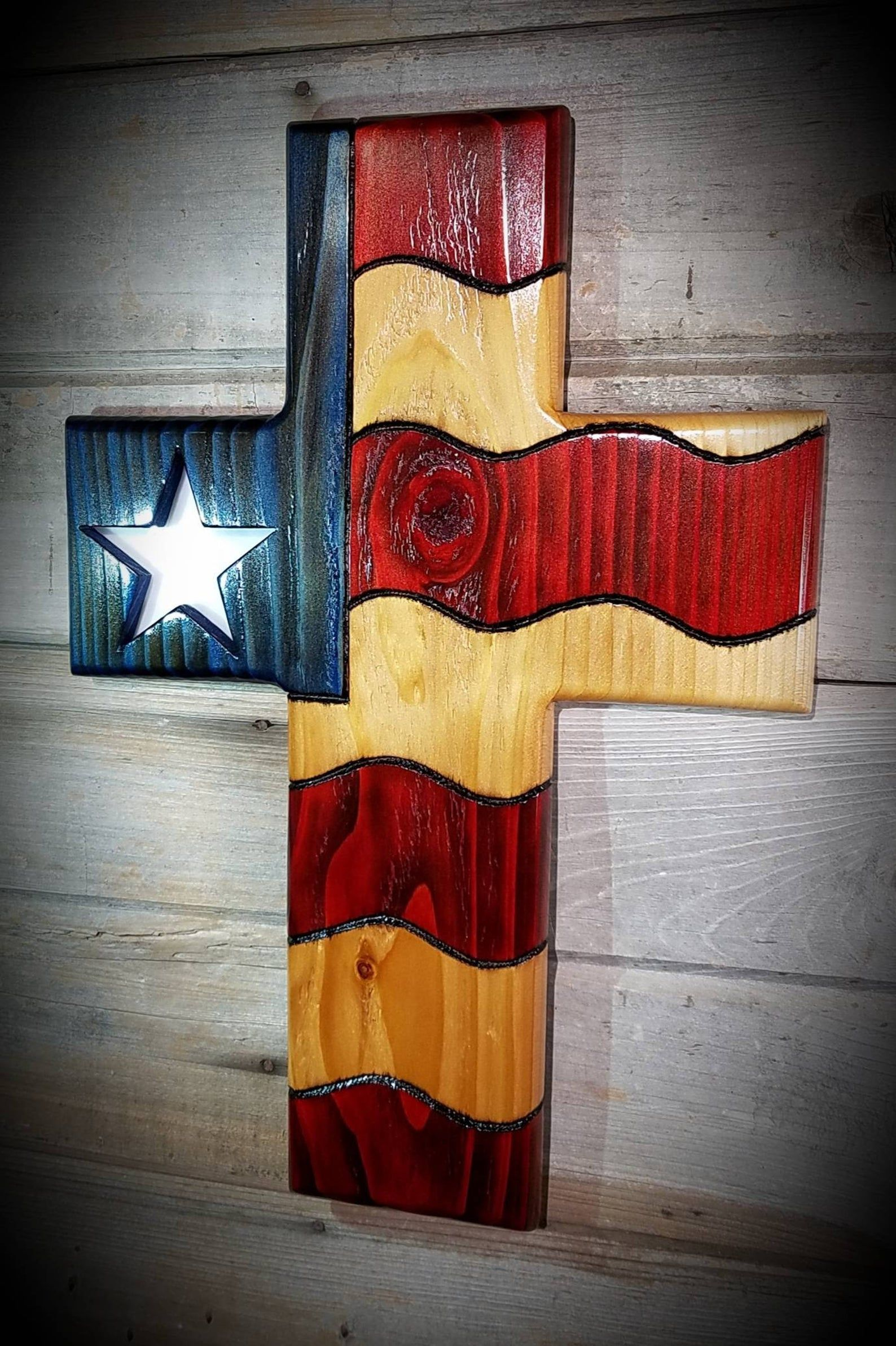 American flag patriotic cross stained glass star wood wall