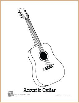 acoustic guitar free printable coloring page guitar lead sheets