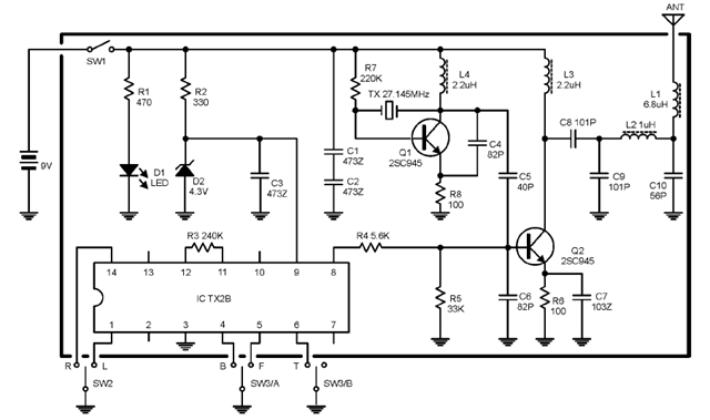 27MHz Transmitter-Receiver Radio Control PCBs and Schematic Diagram ...