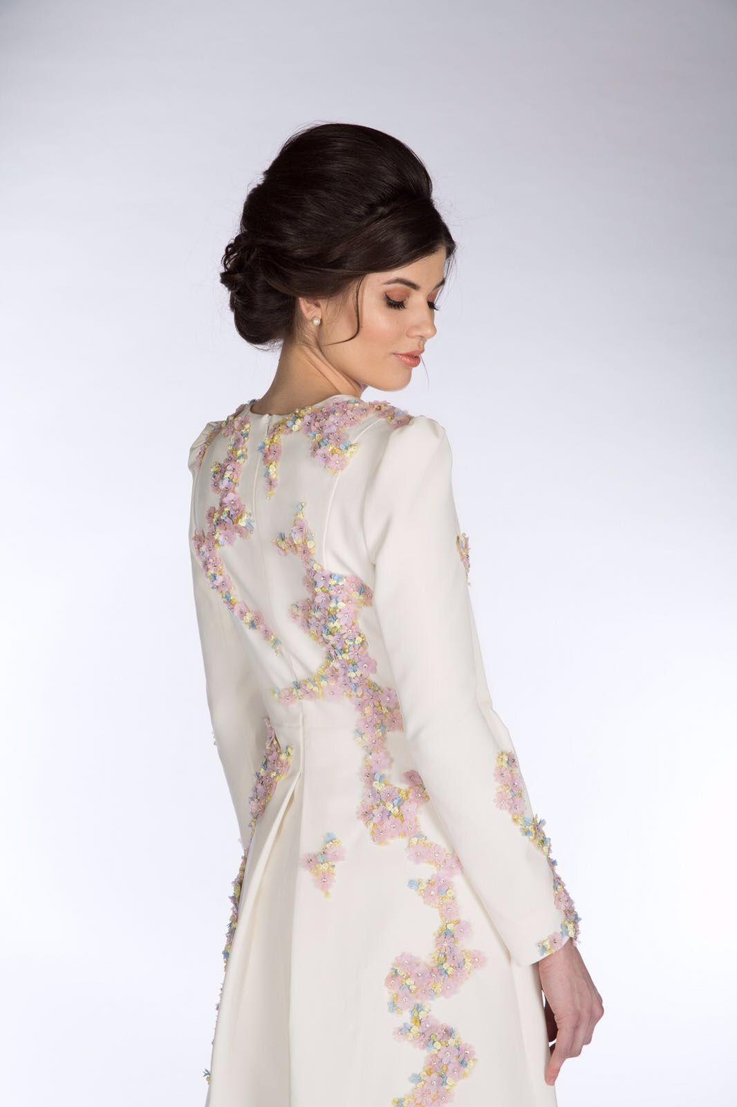 b92ed2b54ae5 CLAIRE MISCHEVANI Ivory Crepe Jardin Dress | Ivory Crepe Jardin Dress
