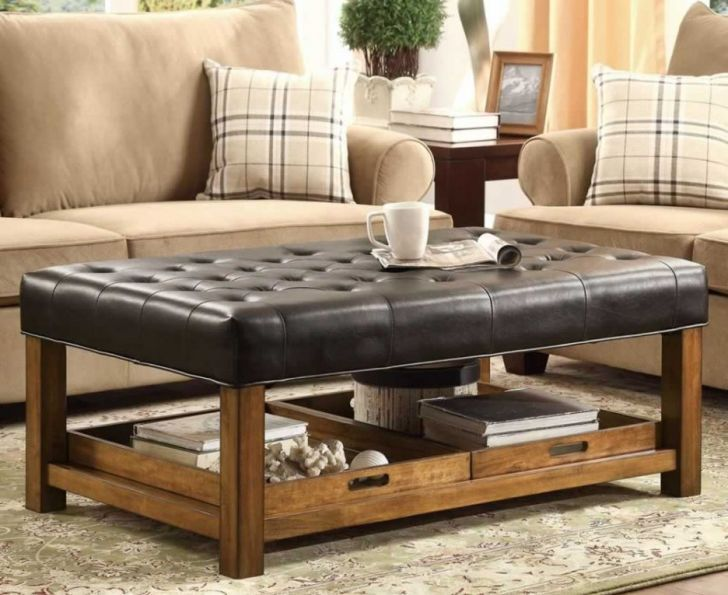 rectangle leather ottoman coffee table
