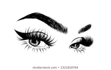 Photo of Ähnliche Bilder, Stockfotos und Vektorgrafiken von Handgezeichneter weiblicher Schminktisch mit perfekt geformten Augenbrauen und Extra-Vollwimpern. Idee für Visitenkarte, Typografie, Vektorgrafik.Perfekter Salon-Look – 776749792