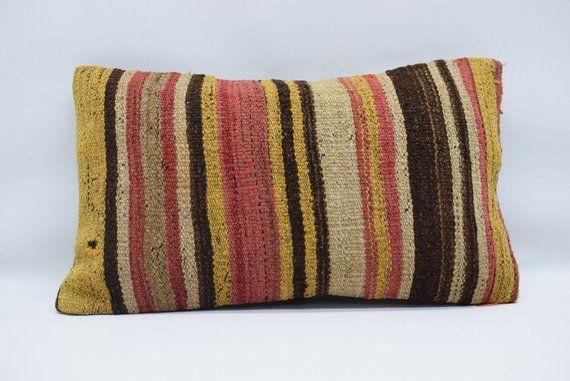 turkish kilim pillow decorative kilim pillow 12x20 lumbar kilim pillow striped kilim pillow bedroom pillow cushion cover 0254