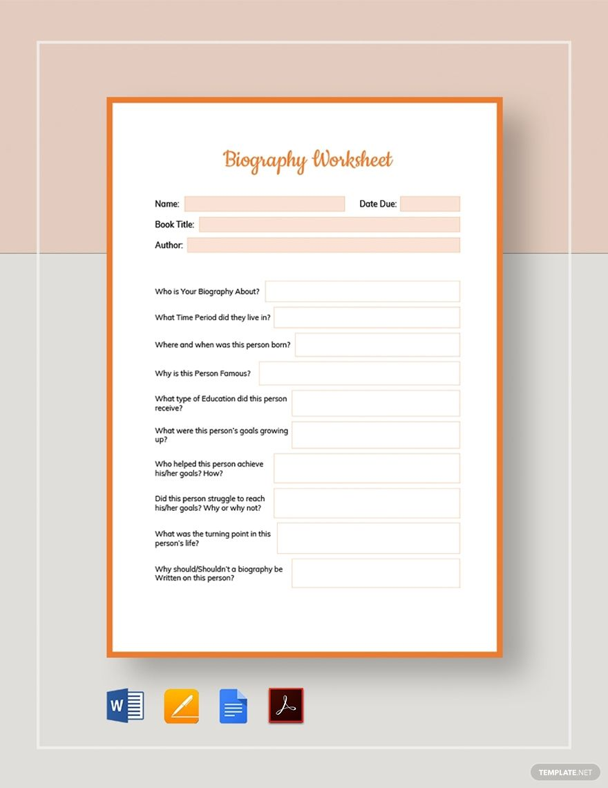 Biography worksheet template in 2020 worksheet template
