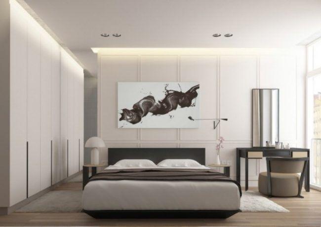 raumgestaltung-ideen-grau-weiss-schlafzimmer-kuenstlerisches-bild - schlafzimmer weiß grau