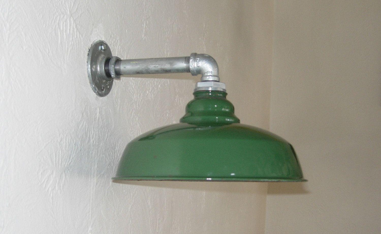 Vintage Barn Light Wall Mount 12 Porcelain Enamel