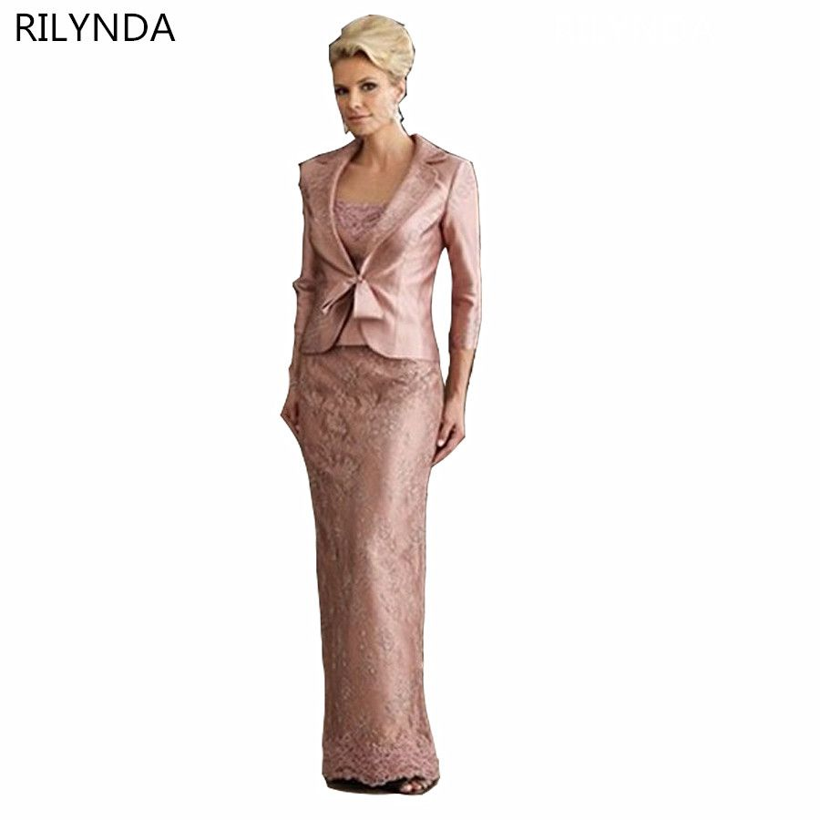 329f777010 Elegent Sheath Floor-Length Pink Lace Stain Long Sleeve Mother Of ...