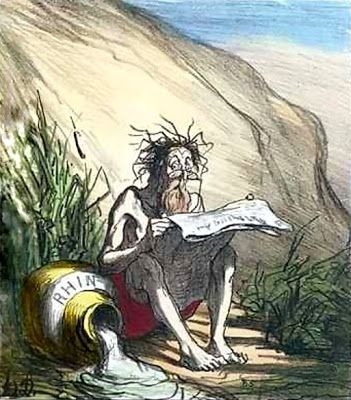 Daumier, Honoré (1808-1879) Diogenes reading a newspaper