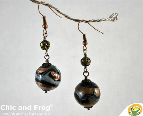 Earrings Gold night by Chicandfrog on Etsy