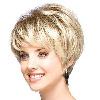 Elegant Fashionable Light Gold Short Straight Synthetic Wig For Women 3739559ba2