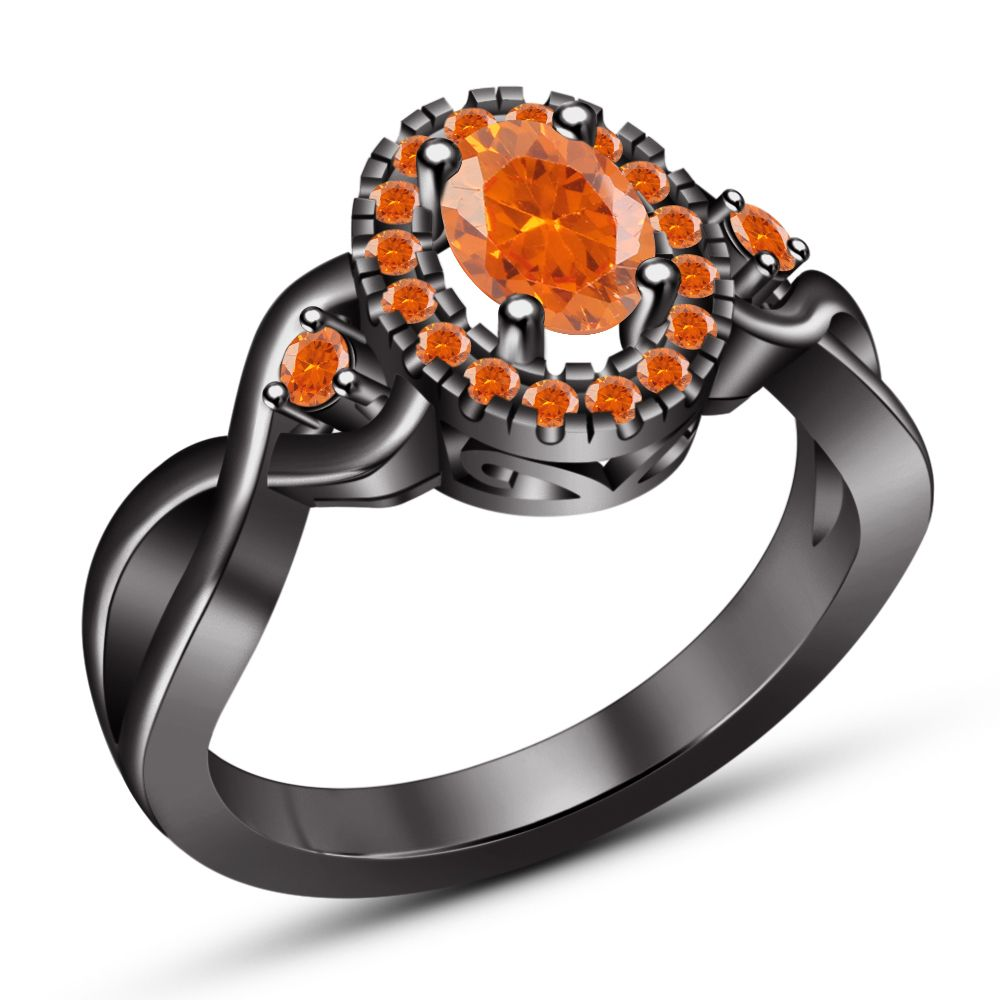 Solid Sterling Silver Black Gold Finish Oval Shape Orange Sapphire Wedding Ring Amazing Wedding Rings Sapphire Wedding Rings Stylish Rings