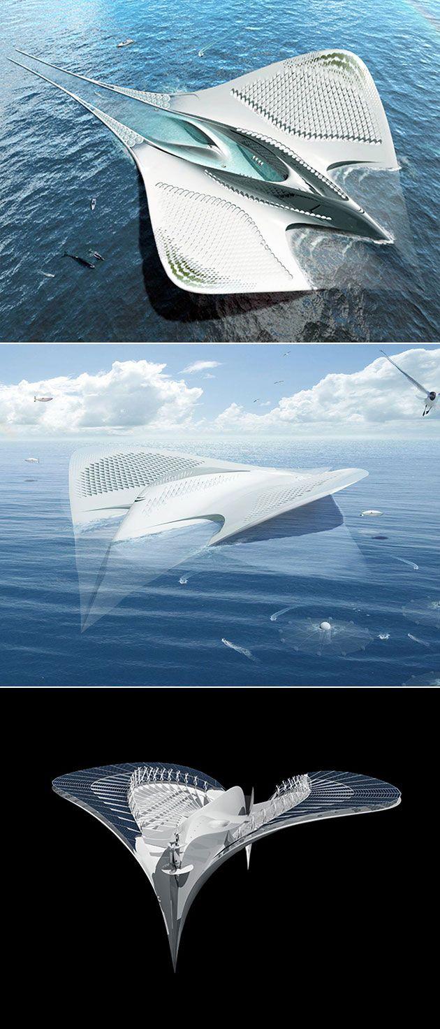Futuristic Floating City Looks Like a Manta Ray, is