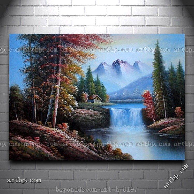 3398f2da4 Snow Mountain Cabin And Creek Oil Painting Naturalism Landscape River Cheap  Modern Decor Texture Acrylic Painting Free Sh
