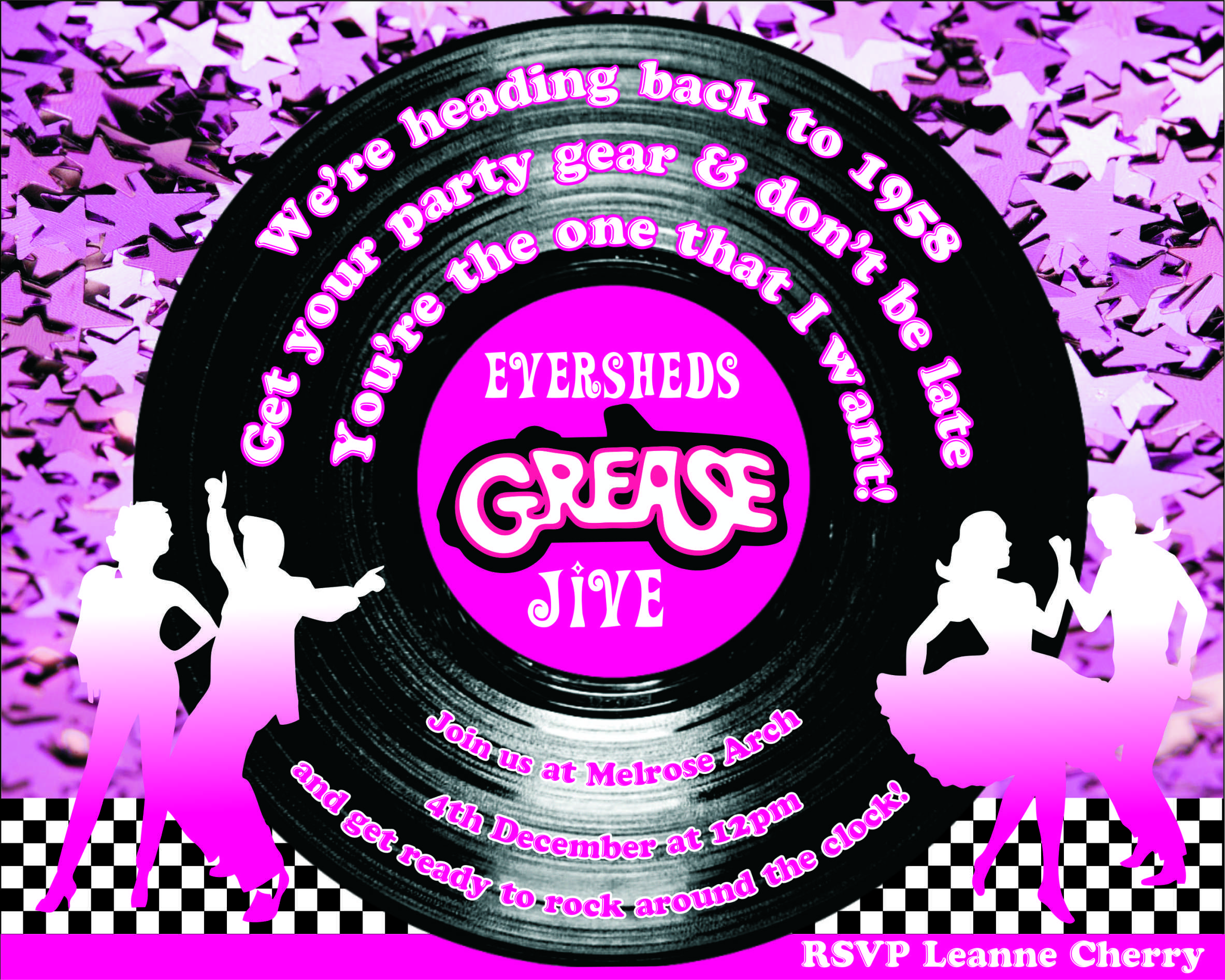 personalised grease lightening party invitation for a corporate