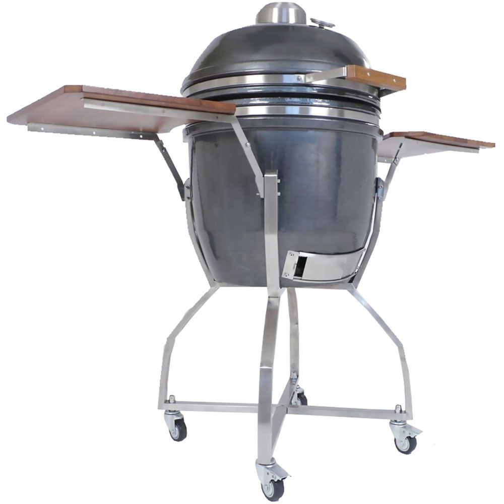 Hanover Kamado Ceramic 19 Inch Grill With Cart Shelves And Grill
