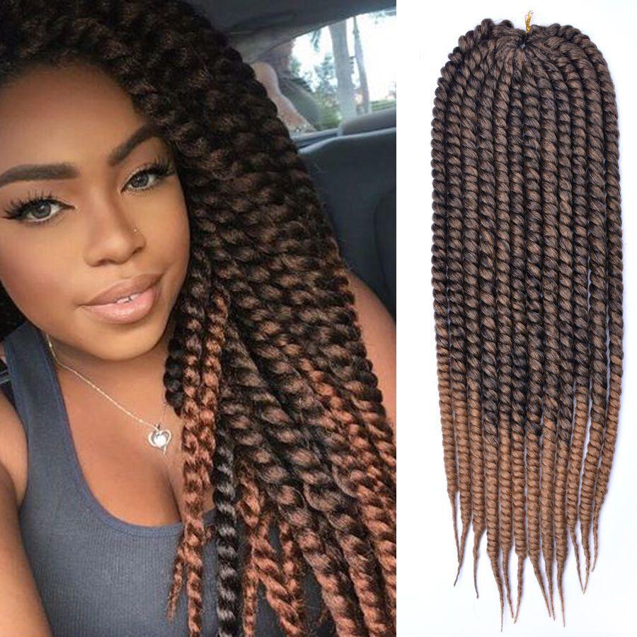 3 Pack Havana Mambo Twist Crochet Braid Brown Ombre Synthetic Hair
