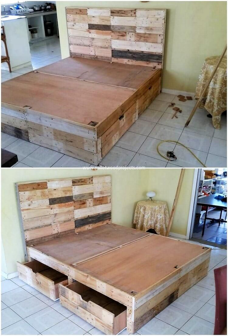 This Amazing Idea Of The Wood Pallet Recycling Is All About The Innovative Designed Bed Frame With Drawers Homemade Bed Frame Bed Frame Plans Wood Pallet Beds