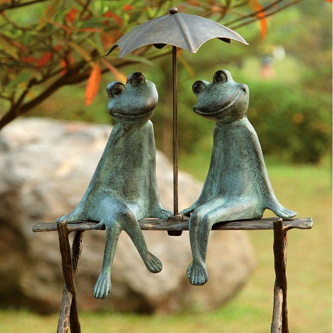 Frog Lovers Verdigris Finish Garden Sculpture