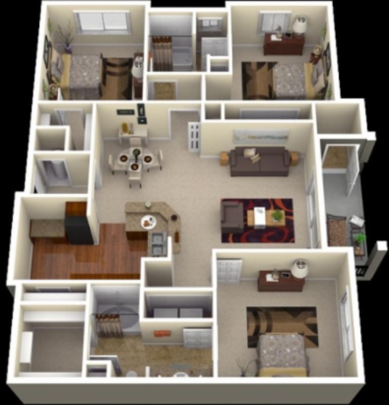 20 Gambar Denah Rumah Ukuran 8x10 3 Kamar Tidur Desain Rumah Denah Rumah Rumah Minimalis
