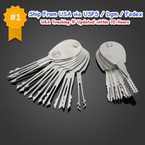 20pcs Car Door Lock Opener Tools Kit Emergency Double Sided Padlock Key Foldable Lock Picking Tools Lock Pick Set Locksmith