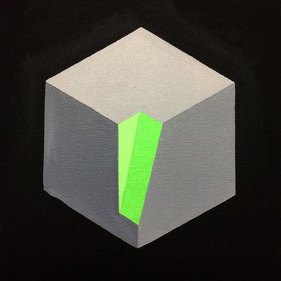 Op Art Geometric Cube Painting by DominicJoyceArt on Etsy