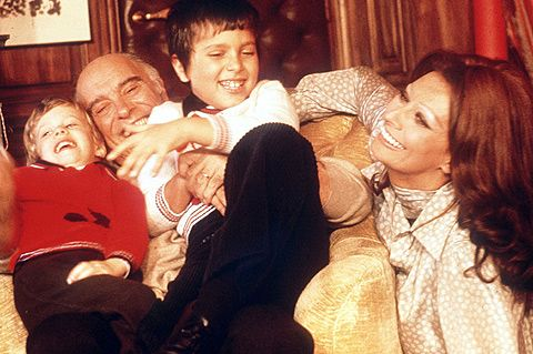 Five years later, January 6, 1973,their second child, Edoardo, arrived and the happy family unit was complete Sofia Loren and Carlo Ponti, 1973