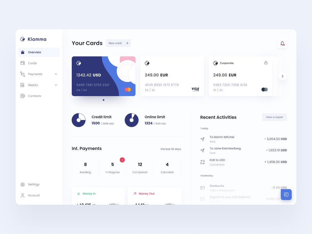 Klamma Online Banking Dashboard In 2020 Dashboard Design User Interface Design Interface Design